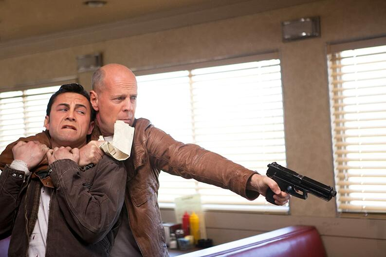 bruce willis and joseph gordon levitt in looper 2012