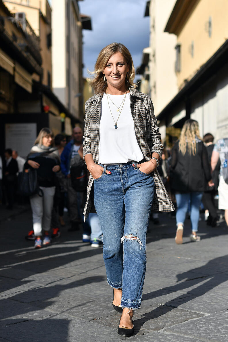 jeans casuales blazer flats