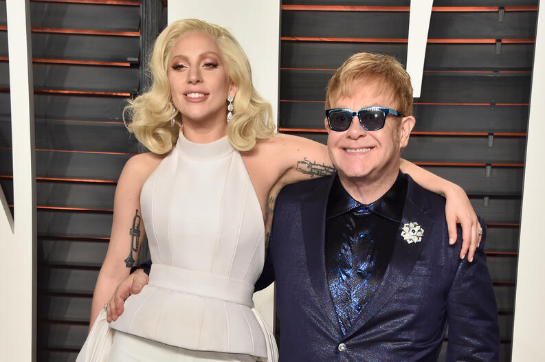 lady gaga elton john 2016 vanity fair oscar party 2016