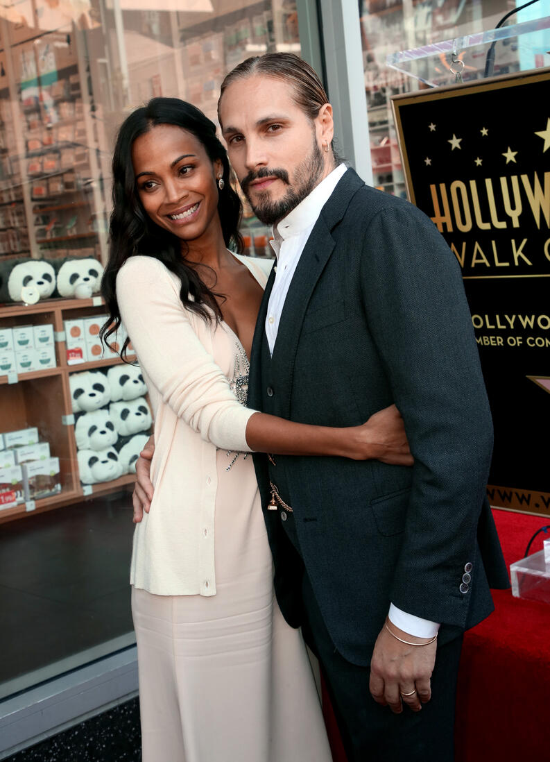 zoe saldana marco perego hollywood walk of fame 2018